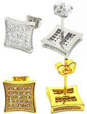 Silver Gold Iced Crystal Square Ear Studs Earrings