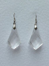 ART DECO STYLE LARGE CLEAR FACETED SPEAR EARRINGS ACRYLIC CRYSTAL SILVER PLATED