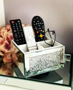 Diamond Crushed Crystal Mirrored Beauty Box on Swivel Remote Control Holder New
