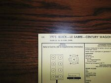 1975 Buick LeSabre & Century Wagon EIGHT Series Models 350 V8 4BBL Tune Up Chart