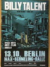 BILLY TALENT 2012 BERLIN orig.Concert-Konzert-Poster-Plakat
