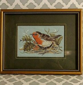 VTG Cash's Collector Range Birds Robin Silk Woven Tapestry Picture England COA