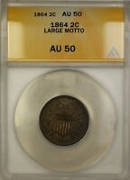 1864 Large Motto Two Cent Piece 2c Coin ANACS AU-50 (A)