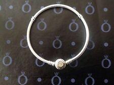 Genuine Pandora Silver & 14ct Gold Signature Clasp Bracelet 590741CZ All Sizes