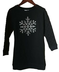 GAP Girls Black Silver Snowflake Sweatshirt Sweater Knit Tunic Dress S 6 7 NEW