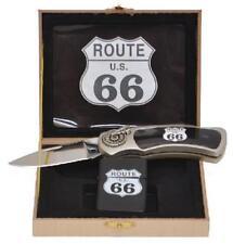 Geschenkbox Taschenmesser Klappmesser   Sturmfeuerzeug Benzinfeuerzeug Route 66
