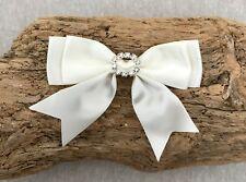 "2 x 1"" Ribbon Bow - Ivory Satin Double Bow Diamante Buckle - Wedding Ribbon Bow"