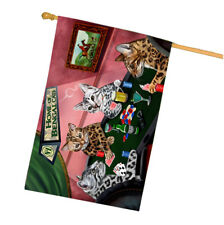 Home of Bengal 4 Cats Playing Poker House Flag