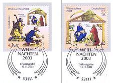 Rfa 2003: Noël No. 2369 + 2370 Avec Bonner Ersttagssonderstempeln ! 1A 1604
