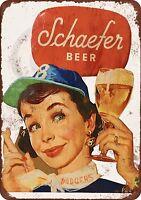 "Schaefer Beer and Brooklyn Dodgers Vintage Metal Sign 8"" x 12"""