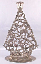 Silver Plated Holiday Christmas Tree Shaped Candle Holder