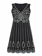 Sequin Beaded Embellished Teardrop 1920s Flapper Charleston Party Dress 8-24 20 Black
