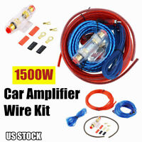 1500W Car Amplifier Wiring Kit 8Gauge Subwoofer Sub AMP RCA Power Cable AGU Fuse