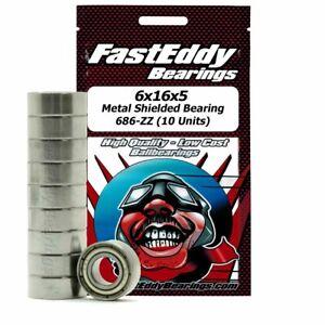 6x16x5 Metal Shielded Bearing 696/D16-ZZ (10 Units)