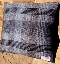 "2 Harris Tweed 20"" Grey Blue Black Designers Guild Cotton velvet Cushion cover"