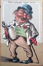 Drunk Man Drinking From Beer Stein 1916 Color Litho Postcard