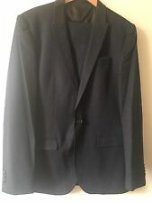 Mens River Island Navy Suit Blazer 42 Trousers 34 Used Faux Leather Trim