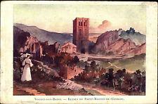 Vernet-les-Bains France ~1910 Ruines de Saint Martin du Canigou Gemälde Painting