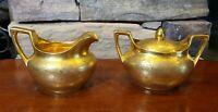 R S Germany Creamer & Sugar Bowl with Lid Gold Floral, Pickard Label