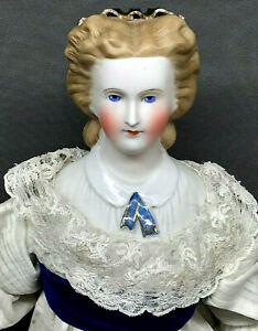 """c.1860s Rare Cafe Au Lait 17"""" Kling SNOOD Parian China Antique German Doll ascot"""