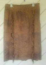 Context Lord & Taylor Women's Faux Suede Fringe Skirt Distressed Brown Size 8
