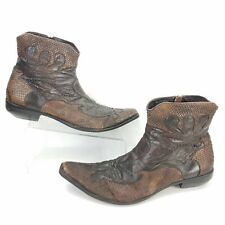 Western Cowboy Boots Mens Size 13 Side Zip Faux Leather Reptile Skin Print Style