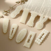 Imitation Pearl Hair Clip Elegant Snap Barrette Stick Hair Styling Accessories