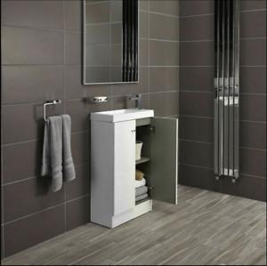 Alpine Duo 495mm White High Gloss Bathroom Sink Vanity Unit Cupboard NO RESERVE