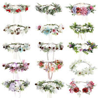 Adjustable Women's Wedding Bridal Flower Headband Crown Garland Wreath Hairband