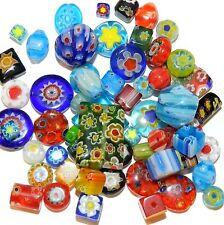 G4454 Assorted Color Mixed Shape 4-20mm Millefiori Flower Glass Beads 1oz