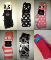 Cozy SOCKS knee hi CREW womens  shoe size 4-10 PANDA OWL CAT FOX LEOPARD T18