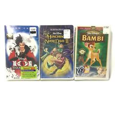 3 Mixed Sealed Disney VHS 101 Dalmatians, Hunchback Notre Dame 2, Bambi LOT