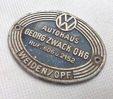 VW Käfer Kotflügel Werbeplakette Zwack, Weiden KdF Ovali Brezel 1956