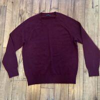 J. Crew Mercantile Super Soft Wool Blend Crew Neck Sweater Burgundy Men's XL