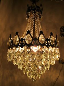 """Antique French Huge Bohemia Crystal Chandelier Ceiling Lamp 1940's 16"""" diameter"""