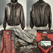 VTG 80s 90s MEMBERS ONLY brown LEATHER bomber 46-LONG JACKET rainbow tag