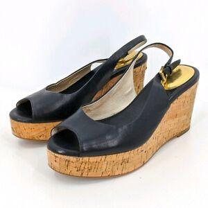 Michael Michael Kors Natalia Cork Wedges 8 Womens Black Leather Peep Toe Buckle
