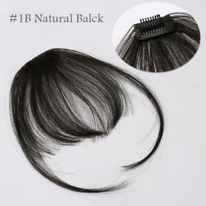 Clip In Real Remy Human Hair Extensions Thin Air Bang Fringe Top Hairpiece USPS