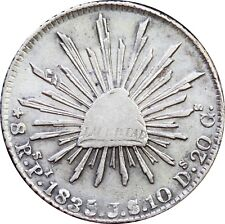 Mexico 8 Reales Pi 1835/4 J.S. Potosi Mint, Overdate. Rare. KM# 377.12