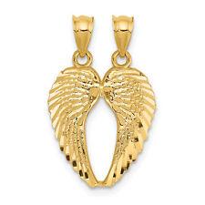 14K Yellow Gold Break-Apart Angel Wings Pendant 18x15mm  1.03gr