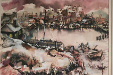 Vintage J DeOrio Modern Art Painting New England Harbor Village 1960s Abstract