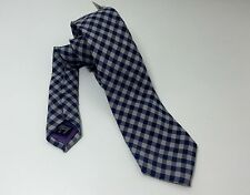 ETON Navy & Grey Check Knitted Linen & Silk Shirt Neck Tie RRP: £80.00