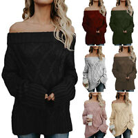 Women's Off The Shoulder Baggy Sweater Pullover Jumper Oversized Knitted Tops