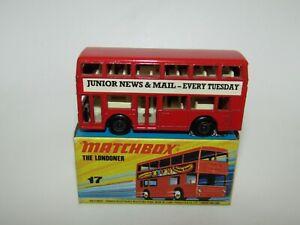 Matchbox Superfast No 17 London Bus Junior News Light Red NMIB CODE 3 RARE