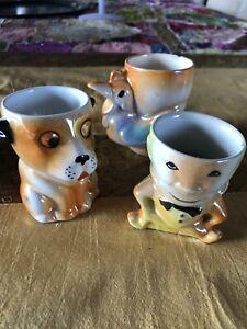 Lot de 7 Coquetiers Anciens Animaux Porcelaine Irisee.. Petite Ébréchure