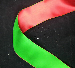Wire Edge Christmas Ribbon Red Green Satin 63mm Double sided New