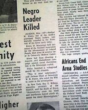 MEDGAR EVERS African American Civil Rights Leader ASSASSINATION 1963 Newspaper
