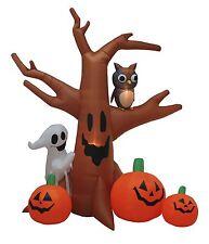 8 Foot Tall Halloween Lighted Inflatable Ghost Tree Owl Pumpkins Yard Decoration