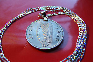 """1966 IRISH GAELIC MINT CONDITION COIN PENDANT on a 30"""" 925 STERLING SILVER Chain"""