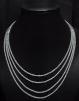 """AAA+ White Zircon Gemstone 3mm Rondelle Faceted Beads 15-16.5"""" 4 Strand Necklace"""